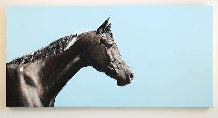 Blue Sky Black Horse Corbin Bronze